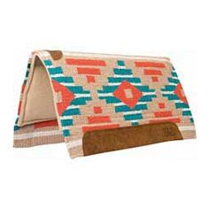 Memory Foam Saddle Pad Orange/Blue Aztec - Item # 32914