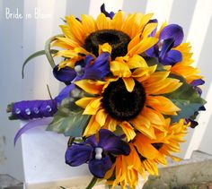 Wedding bouquet Brides bouquet Sunflower purple orchids country woodland silk wedding flowers