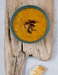 Sea Leaf (Dulse) blended in roast pumpkin and coconut milk soup. | The Atlantic Kitchen