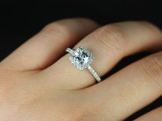 If I Were Ever To Have A Non Diamond Engagement Ring It Would Be Something Like This White Gold Cushion Halo Aquamarine