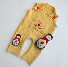 Matryoshka Doll wool coverall set with a wool softie doll from Little Stitch...<3