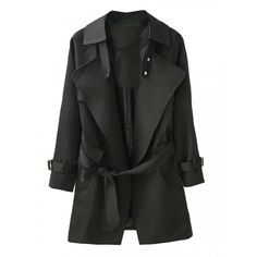 Black Lapel Belted Waist Pocket Slim Trench Coat ($42) ❤ liked on Polyvore featuring outerwear, coats, persun, jackets, persunmall, black trench coat, black trenchcoat, slim fit sport coat, trenchcoat and slim fit coat