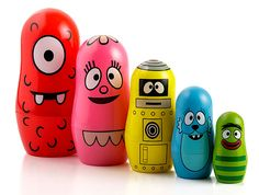 ThinkGeek :: Yo Gabba Gabba Nesting Dolls   Helpful in teaching Synthesizing as a comprehension strategy