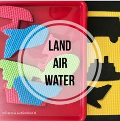 Foam shape puzzle with land, air, and water transportation vehicles Foam Shapes, Shape Puzzles, Unit Plan, Community Helpers, School Themes, Tot School, Landing, Transportation, September