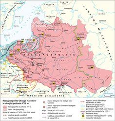 Rzeczpospolita Obojga Narodów w II połowie XVII w. Map Of Britain, Poland History, Polish Language, Alternate History, Historical Maps, Science, Geology, Planer, Knight