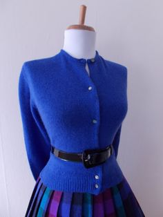 VINTAGE 1950s 1960s Blue Button Down Cardigan by bluebarnvintage, $25.00