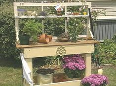 Make a Potting Bench : totally doing a version of this with a wooden pallet and wood leftover from a futon frame.