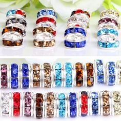 Wholesale 100X Crystal Rhinestone Wavy Silver Plated Rondelle Spacer Beads 6mm  #Unbranded