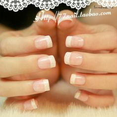 Beautiful French manicure. Natural with a little hidden sparkle.