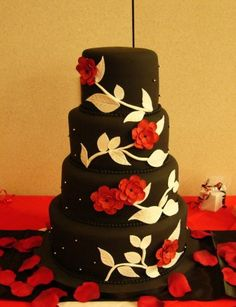 Black, White, and Red Wedding Cake; I would switch the white and black though.