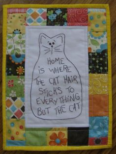 Cat Mini Stitchery Quilt by QuiltgirlsCreations on Etsy, $20.00
