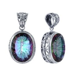 SP-5680-MT Sterling Silver Pendant With Mystic Topaz