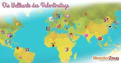 Eine interaktive Weltkarte zeigt die lustigsten und originellsten Bräuche zum Valentinstag aus über 15 Ländern.