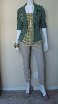 Daily Look:@CAbiClothing #Spring13 #fashion Seahorse Cami, Sheer Tee, Lou Lou Jean & vintage Sergeant Jacket.