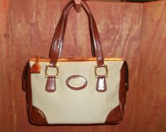 Vintage The Lou Taylor Beige & Brown Satchel with Signature Mirror Satchel Bag