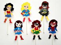 Chica Superhero Cupcake Toppers Fiesta de Cumpleaños Decoraciones de Fiesta de Cumpleaños Decoraciones Del Partido Kids