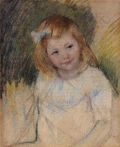 Sara Looking towards the Right, Mary Cassatt Medium: pastel