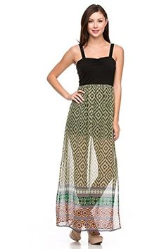2LUV Womens Colorblocked Chiffon Maxi Dress Black  Khaki L >>> Click image for more details. Note: It's an affiliate link to Amazon.