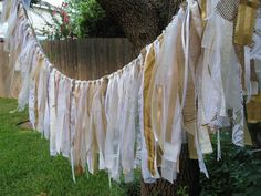 Wedding Garland Rustic Wedding Decor Wedding Decoration Wedding Banner Fabric Garland Shabby Cottage Chic by AWorkofHeartSA, $80.00  Romantic rustic wedding, bridal shower or anniversary decoration!  Eye-catching decor for a birthday celebration!  Lovely accessory for a nursery, baptism or baby shower!  Beautiful accent for your country home, beach cottage, rustic cabin, etc. Would make a gorgeous holiday decoration!