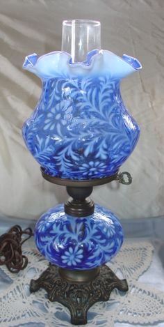 Fenton Art Glass Opalescent Cobalt Blue Electric Lamp in the Spanish Lace pattern, I believe. Antique Oil Lamps, Old Lamps, Vintage Lamps, Vintage Lighting, Fenton Lamps, Fenton Glassware, Antique Glassware, Antique Bottles, Vintage Bottles