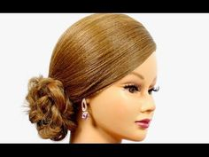 Romantic hairstyle for medium long hair. Easy updo hairstyles. - YouTube