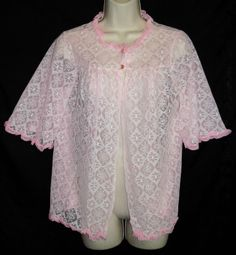 VINTAGE PINK CHIFFON AND LACE BED JACKET SMALL #Unbranded #Lingerie