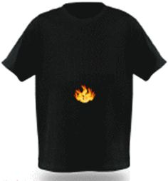 LED Lighting T-Shirt Flame Built-in Sound Activated Sensor Bars Black