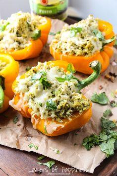 5-Ingredient Pesto Chicken Stuffed Peppers