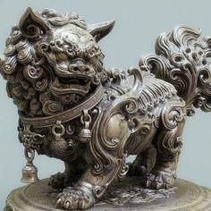 A Chinese lion statue(Bronze version ), Zhelong Xu Foo Dog Tattoo, Statue Tattoo, Chinese Lion Statue, Sculpture Art, Sculptures, Chinese Dog, 3d Mode, Fu Dog, Dragons