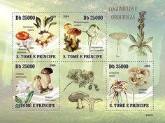 Sao Tome & Principe postage stamps featuring fungi.