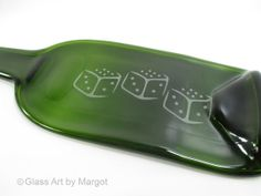 Bunco Anyone? Melted Flat Wine Bottle Cheese Board Serving Tray Bunco Dice Design by GlassArtByMargot