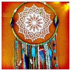 DIY Dreamcatcher Inspiration... I've finally found a way to use all the doilies my Nanna has made me throughout the years...