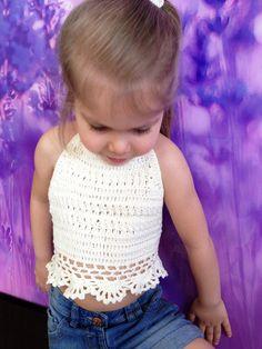 Ivory toddler top/ Crochet chunky top/ Crochet halter top/ Baby girls festival top/ Crochet crop top/ Bohemia toddler top/ Hippie top beach by ElenaVorobey on Etsy