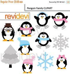 ON SALE Half Price Winter clipart.. Penguin Family by revidevi