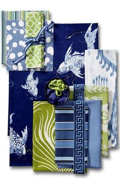 Blue and Green - Koi Pond room - LandingPage - Calico Corners Navy And Green, Blue And White, Koi, Fabric Combinations, Living Room Green, Fabric Wallpaper, Pattern Mixing, Custom Furniture, Affordable Furniture