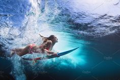 Young girl in bikini - surfer with surf board dive underwater with fun under big ocean wave. Family lifestyle, people water sport lessons and beach swimming activity on summer vacation with child , Kitesurfing, Wakeboarding, Managua, Underwater Photographer, Underwater Photos, Parkour, Surfboard, Bmx, Surf Girls
