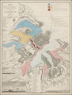 Map of Valetta, Malta, 1823.