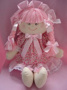Cute all pink doll Linda Doll Clothes Patterns, Doll Patterns, Pink Doll, Plush Pattern, Sewing Dolls, Child Doll, Waldorf Dolls, Fairy Dolls, Soft Dolls
