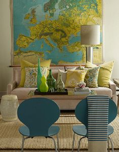 SallyL: Lisa Sherry Interieurs - Incredible vintage wall map! Contemporary oatmeal sofa with ...