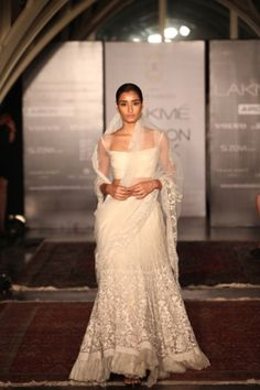this white creation of Tarun Tahiliani at Lakme Fashion Week Wedding Bridesmaid Dresses, Wedding Attire, Bridal Dresses, Wedding Outfits, Indian Bridal Wear, Asian Bridal, Indian Wear, Indian Fashion Trends, Indian Designer Outfits