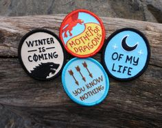 Game of Thrones patch set. Browse similar at Bindle Patches on Etsy.