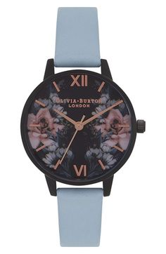 Free shipping and returns on Olivia Burton After Dark Leather Strap Watch, 30mm at Nordstrom.com. A muted leather strap brings striking contrast to this matte-black watch with polished rosy hour markers and hands accenting a dial of romantic midnight blossoms.
