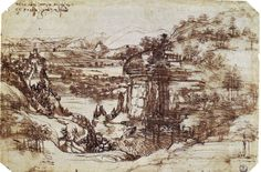 Landscape study - the EARLIEST independent landscape study known in the Western art cannon, drawn by a very young Leonardo.