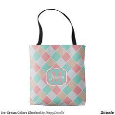 Ice-Cream Colors Checked Tote Bag