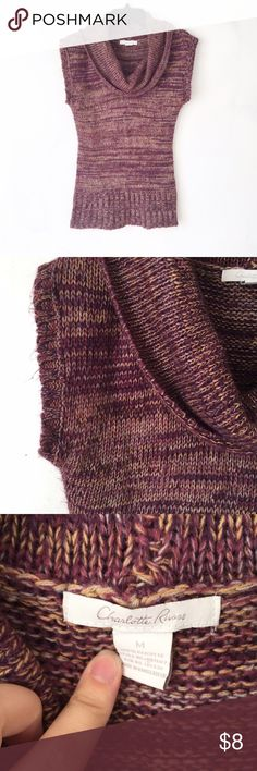 Short sleeve cowl neck sweater Marled purple sweater. Wash wear as shown. Charlotte Russe Sweaters Cowl & Turtlenecks