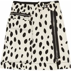 Sonia by Sonia Rykiel Dalmatian-print cotton-drill mini skirt ($150) ❤ liked on Polyvore featuring skirts, mini skirts, bottoms, saias, skirts/shorts, black miniskirt, mini skirt, short skirts, black cotton mini skirt and bow skirt