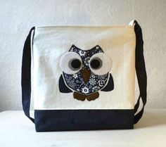 "Vegan Crossbody, Mini Messenger bag. Tote bag,Owl Applique ""Rocko"" navy and white linen.. $34.00, via Etsy."