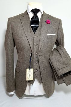 MENS TAN 3 PIECE TWEED SUIT WEDDING PARTY PROM TAILORED SMART in Clothes, Shoes & Accessories, Men's Clothing, Suits & Tailoring | eBay! #MensFashionParty