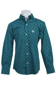 Cinch Long Sleeve Boy's Fine Weave Shirt