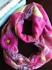 "New Bright Pink, Yellow & Orange Infinity Scarf 70"" Around w/ Pink Daisy Pin"
